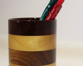 Wood Pencil Holder, Wooden Pen Cup, Office Desk Organizer (#187)