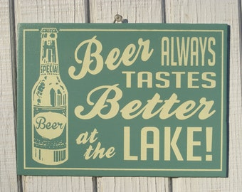 Retro Beer at the Lake Cottage Sign