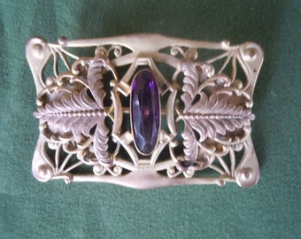 Gorgeous 1910s-1920s Ornate Brass Brooch with Amethyst Stone Pendant