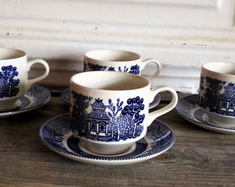 Vintage Churchill China Cup and Saucers, Blue Willow Pattern, Georgian Shape, Four Sets, Blue and White China, Country Farmhouse Kitchen