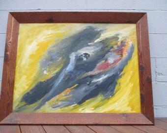 "Mid Century Modern ""In the Beginning"" Oil Painting California Artist Signed Howard Ellis"