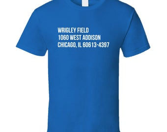 Wrigley Field Ball Park Address Chicago Cubs Fan Graphic Baseball Tshirt