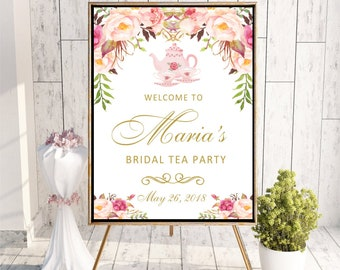 Welcome to Tea Party Bridal Shower sign Printable Digital Personalized Floral Baby Shower Sign Boho Watercolor Flowers DIGITAL FILES, WS84