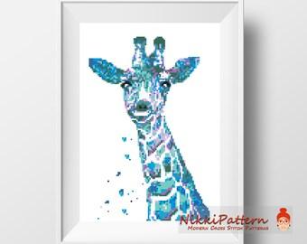 Modern Cross Stitch Pattern Giraffe Watercolor Animals PDF Printable Safari Elephant Baby Wall Decor Wild Geometric Embroidery Counted
