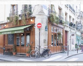 Paris Photography on Canvas - Au Bougnat Restaurant-Horizontal, Gallery Wrapped Canvas, Classic Paris Architecture,  Large Wall Art