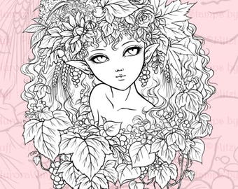 PNG Digital Stamp - Instant Download - Harvest Elf - Beautiful Fairy in Autumn Leaves - digistamp - Fantasy Line Art for Cards & Crafts