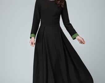 Black dress, long sleeve dress, prom dress, linen dress, maxi dresses for women, full length dress, long party dress with contract cuff 1450
