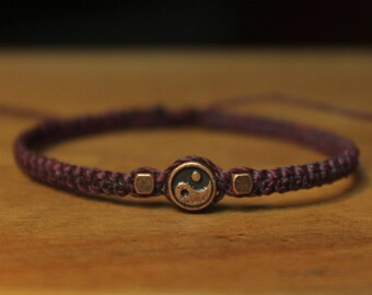 Plum bracelet copper bead
