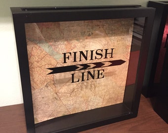 "Finish Line, Shadow Box for Running Bibs n medals,  12x12"" Memory Box, 5k, 13.1, marathon runner, gift for runners, Race, bicyclist gift"