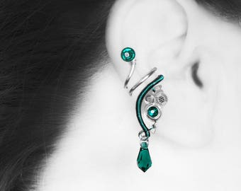 Emerald Swarovski Crystal Steampunk Ear Cuff, No Piercing, Cartilage Jewelry, Green Crystal, Statement Earring, ,  Ares III v12: