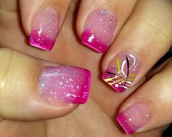 Color Changing Glitter Nail Polish - Mood Nail Polish - Cherry Blossom - FREE U.S. SHIPPING
