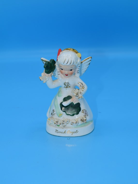 Napco March Angel Figurine Vintage March Angel of the Month Figurine #S1363 Mid-Century Girl With Shamrocks Roses and Spaghetti Trim