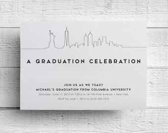New York Graduation Invitation, New York Event, New York Party, Printable Party Invitation, Printable Invite, Columbia University