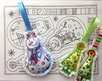 Snowman ornament embroidery kit. Snowman and  tree.