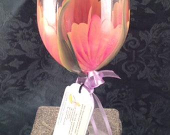 Stemware Hand Painted, Hand Painted wine glass, Wedding Drinkware, Shower gift Set of (2)