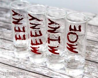 Eeny, Meeny, Miny, Moe, Set of 4 Shot Glasses, Negan, The Walking Dead, TWD, The Walking Dead Gift, Handmade Glasses