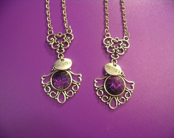 Mother and Daughter Purple Sparkle Cabochon Necklaces Jewelry Gift