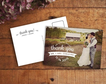 Thank You Card, Wedding Thank You, Wedding Thank You Card, Thank You Postcard, Photo Thank You, Printable Thank You