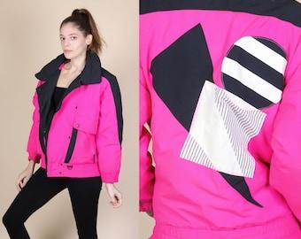80s Neon Pink Ski Jacket - Small // Vintage Color Block Retro Puffy Winter Coat