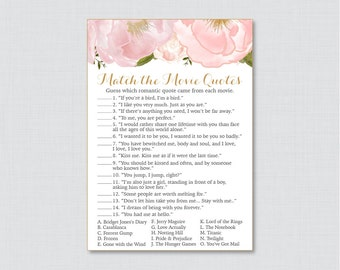 Movie Love Quote Match Game - Printable Pink Floral Bridal Shower Movie Quote Game - Blush Pink and Gold Garden Bridal Shower Game - 0007