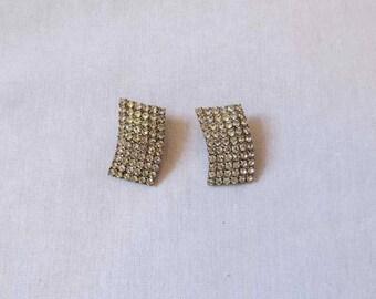 1950s Vintage - Vintage Earrings - Curved Diamante Earrings - Clip On