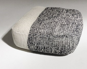 Handmade Knitted Floor Cushion   Grey & Cream   70x70x30cm   Hand Knit Floor Pillow Pouf Ottoman Footstool