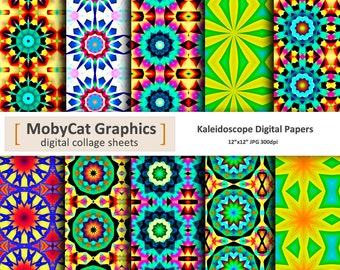 """Kaleidocope Digital Papers 12""""x12"""" Funky Kaleidoscope Photo Backdrops Scrapbooking Paper Commercial Use Instant Download"""