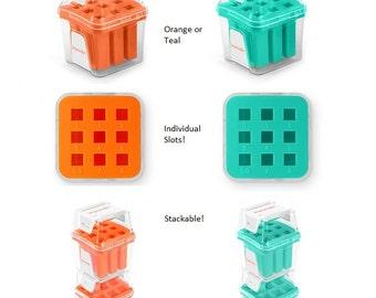 Numbers Metal Stamp Storage Case, ImpressArt Orange or Teal Stamp Holder, Stackable Storage Cases 3mm, 4mm or 6mm Empty Cases,