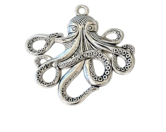 2 Large Octopus Pendants | Octopus Charm | Steampunk Octopus | Silver Octopus | Kraken Charm | Cthulhu | Ready to Ship USA | AS122-2