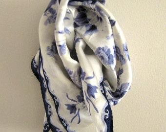 Fine China silk scarf - white and blue florals