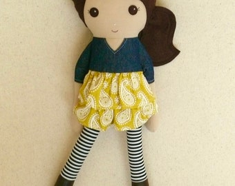 Fabric Doll Rag Doll 20 Inch Brown Haired Girl in Denim and Yellow Paisley Ruffled Dress with Brown Boots