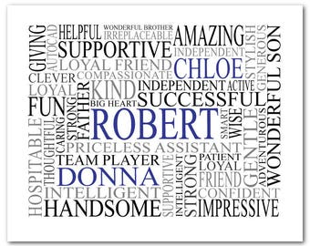 Custom Word Cloud PRINT - Personalized Name Typography - Birthday Gift - Retirement gift - New Baby Gift