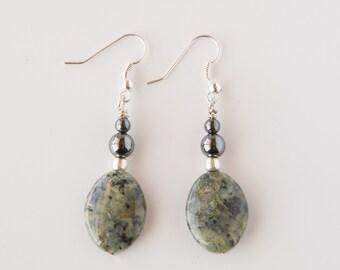 Agate Earrings, Gemstone Earrings, Reiki Infused, Reiki Earrings, Reiki Jewelry, Hematite, Silver Earrings, Unique Earrings, Dangle Earrings