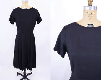 1960s day dress | black fit and flare short sleeve dress | vintage 60s dress | W 28""