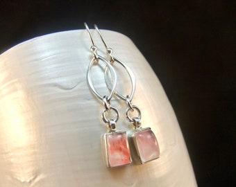 Pink Moonstone Sterling Silver Earrings