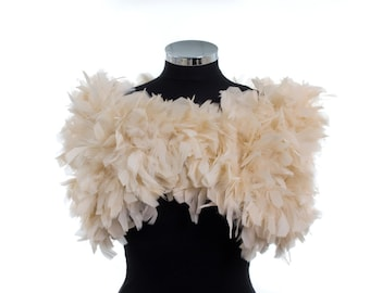 Custom listing for Kylie - Oh La La.....  PARISIAN VINTAGE CHIC 1930s Glamour - Champagne/Beige - Ostrich Feather Ruffle Stole Wrap Shrug