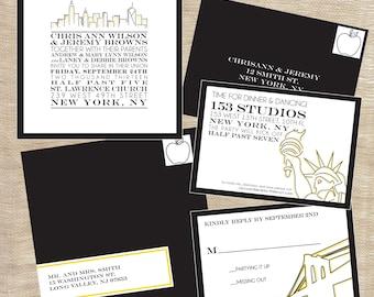 Cityscape Skyline NYC New York City themed Wedding Suite Invitation Printable Custom Personalized