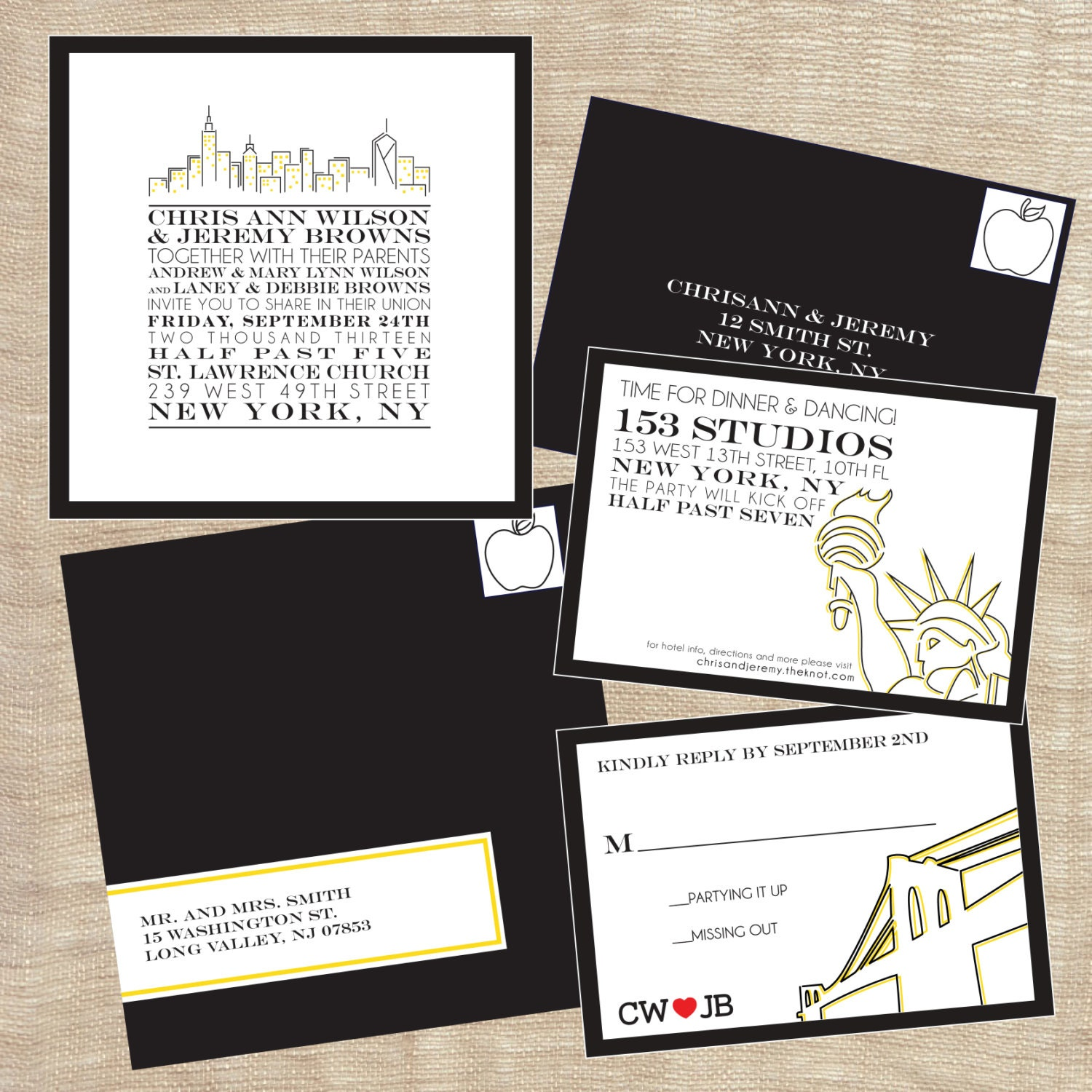 Personalized Skyline Wedding Invitations