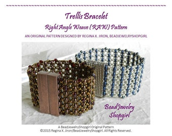 PATTERN TUTORIAL – Trellis Bracelet, Right Angle Weave (RAW) Pattern, using seed beads and Superduo - Digital Download
