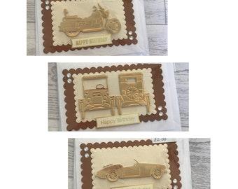 Vintage vehicles happy birthday cards