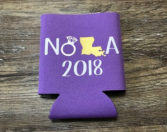 NOLA beer can cooler, girls weekend 2018, bachelorette party, destination, new orleans can holder, drink holder, collapsible coolie