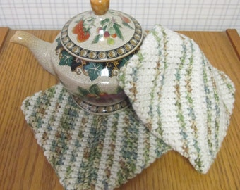 Crochet Potholders Sage Green and Beige - Set of 2 Potholders/Trivet