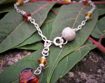 Amber and silver bracelet 925