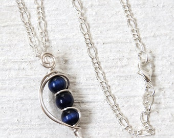 Blue Necklace, Dark Blue Necklace, Navy Blue Jewelry, Bead Necklace Jewelry, Blue Pendant, Inexpensive Gifts, Silver Necklace,Cats Eye Beads