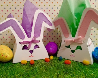 Bunny Favors! DIY SUPER EASY!Just Lace & Tie a Bow! Easter Party Favors! Set of 12! Easter Bunny Party Favor 3-D Boxes Easter Bunny Favors!