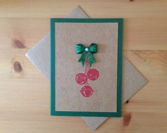 Christmas Bells Card - Holiday Bells Card - Craft Paper Christmas Card with Holiday Bells - Color Options