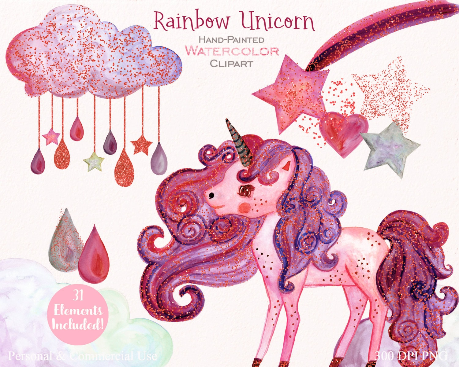 PINK WATERCOLOR UNICORN Clipart Commercial Use Clip Art ...