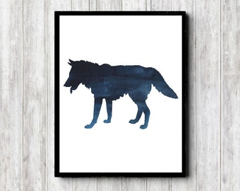 Wolf Watercolor Silhouette Wall Art - Woodland Animal Print - Forest Animal Wall Decor - Office Wall Art - Dark Blue Art Poster