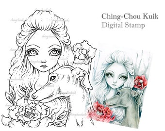 Greyhound - Digital Stamp Instant Download / Fantasy Art by Ching-Chou Kuik