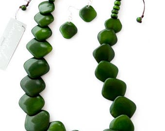 Jade Green Squares Natural Tagua Necklace and Earrings